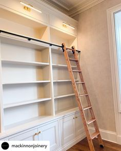 JOINERY // We work closely with joiners to add a style statement to their schemes. They know we provide the highest quality products. Get in touch for a quote info@libraryladdercompany.co.uk Wall Panelling, Joinery, Quote, Shelves, Touch, Home Decor, Style, Products, Carving