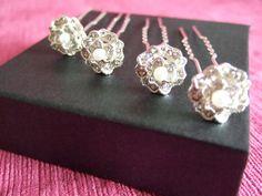 Crystal and Pearl Vintage Rose Wedding Hair Pins. Set of 4. Bridal / Bridesmaid / Maid of Honor / Silver Crystal Hair Pin / Special Occasion