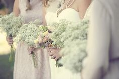 Bridesmaid's Bouquets: Baby's Breath bouquets, which added softness and a sense of angelic elegance to their look
