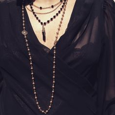 Belle Starr Accessories - Swarovski Crystal Multilayer Necklace & Swarovski Pearl Lupita Wrap. Hand-made in Mexico.