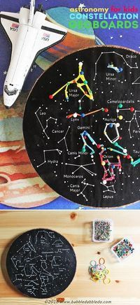 A fun kids' astronomy project: Make a constellation geoboard. A great STEM activity for kindergarten, first grade, and second grade! #astronomyforkids #spaceunit