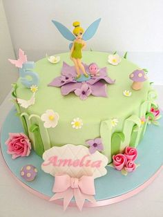 Free images about Tinkerbell Birthday Cake picture and new designs ideas for birthday cakes Tinkerbell Birthday Cakes, Fairy Birthday Cake, Tinkerbell Party, Themed Birthday Cakes, Birthday Cake Girls, Themed Cakes, Tangled Party, Purple Birthday, Free Birthday