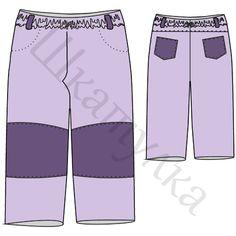 Выкройка штанишек на резинке с кокеткой, р-р 92