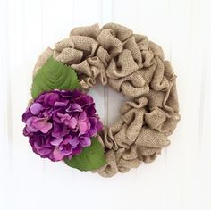 Hydrangea Wreath, Summer Wreath, Burlap Wreath, Floral Wreath, Front Door Wreath, Country Wreath, Farmhouse Wreath by JennysWreathBoutique on Etsy https://www.etsy.com/listing/386210022/hydrangea-wreath-summer-wreath-burlap