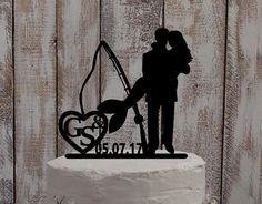 wedding Cake Topper  mermaid / angler / by SignCityHomeDecor