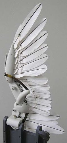 Mechanical bird wing with individual feathers folds and flaps