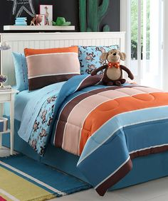 Take a look at this Justin Monkey Reversible Comforter Set by Victoria Classics on #zulily today!