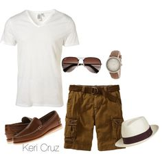 Men's Summer Fashion, created by keri-cruz on Polyvore would replace the shorts with khakis.