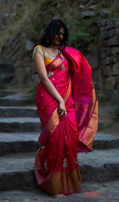 pink saree paired with stunning yellow blouse from Golden threads