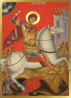 Christian Martyr Painting - Saint George by Daniel Neculae Byzantine Icons, Byzantine Art, Religious Icons, Religious Art, St Georg, Saints, Saint George And The Dragon, Religious Paintings, John The Baptist