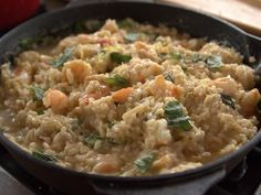 Lemon Basil Shrimp Risotto - Ree  Or can use chunks of cooked chicken.  Or leave protein out altogether.