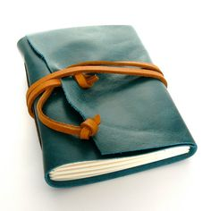 Handmade Leather Journal and Sketchbook in Teal and Caramel