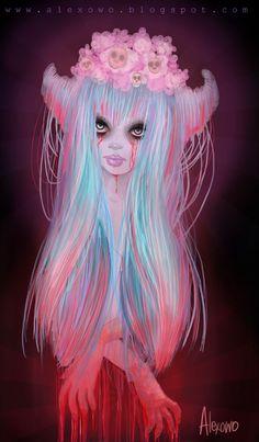 CuteDeath by alexowo on DeviantArt Color Splash, Horror Cartoon, Pastel Goth Art, Art Addiction, Glitter Art, Soul Art, Creepy Art, Pop Surrealism, Illustrations
