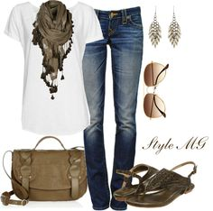 """""""White T + jeans + scarf = perfect for any day"""" by romigr99 on Polyvore"""
