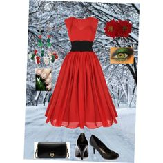 Christmas dress-not the eye shadow or jewelry. Just the dress, bag and pumps