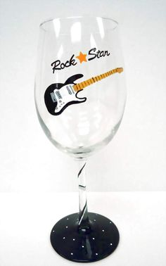 Image detail for -Wine Glass - Rock Star - hand painted glass - music - musician