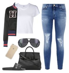 """""""Gigi Hadid Inspired"""" by khalesse ❤ liked on Polyvore featuring 7 For All Mankind, RE/DONE, Tommy Hilfiger, Versace, Givenchy and Porsche"""