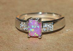 pink fire opal Cz ring gemstone silver jewelry Sz 7 modern elegant design L7S1