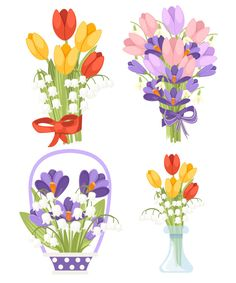 Spring Flower Bouquet, Spring Flowers, Yellow Tulips, Pencil And Paper, Plant Illustration, Different Flowers, Beautiful Drawings, Clip Art, Salmon Eggs