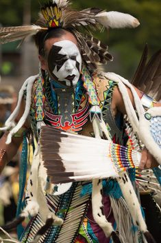 Native American Indian competing in the traditional dance at Bear Mountain PowWow 2014, New York.