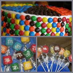 M themed party, chocolate covered oreos and marshmallow favors :)