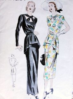 1940s Dramatic Evening Gown Cocktail Dress Pattern Vogue 6111 Film Noir Style Circular Tunic, Open Neckline Filled With Crossed Band Knotted In Center Stunning Design Bust 32 Vintage Sewing Pattern
