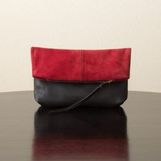 Suede Leather and Leather Foldover Clutch  Red and by jillydesigns, $99.00