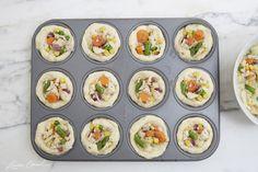 Mini chicken pot-pies; make veggie style too...corn, carrots, onion, broccoli, zucchini. Mix in herbs & garlic. Top with cheese.