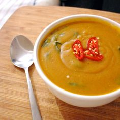 A thick, creamy soup filled with immune system boosting foods full of vitamins: sweet potato, coconut, chilli, spinach, garlic, ginger, etc.