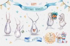 Watercolour Christmas collection by Peace ART on @creativemarket