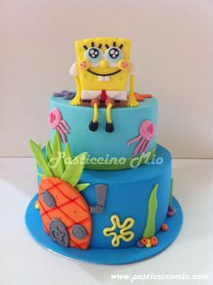 SpongeBob SquarePants' Cake - Cake by Pasticcino Mio Cupcakes, Cupcake Cakes, Spongebob Birthday Party, 2nd Birthday, Movie Cakes, Character Cakes, Novelty Cakes, Pretty Cakes, Fondant Cakes