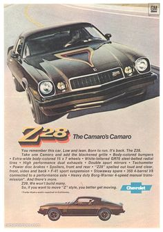 1977 Camaro Z28 - The Camaro's Camaro - Original Ad