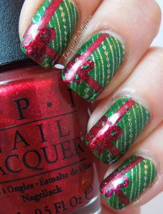 Packages all tied up with bows - design created with Barielle Lily of the Valley as base color. Stamped   gold pattern using Orly Luxe and then hand painted the red ribbon using OPI You Only Live Twice.