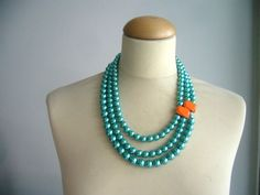 pearl aqua necklace by stavroula on Etsy, $70.00