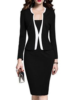 MUSHARE Women's Colorblock Wear to Work Business Party Bodycon One-piece Dress (Large, Navy Blue): *Size Information (just for reference):/bbr br Please remember to check the size chart before you order the dress. Business Dresses, Business Attire, Trendy Clothes For Women, Pants For Women, Pantsuits For Women, Long Sleeve Midi Dress, One Piece Dress, Womens Fashion For Work, Cool Suits
