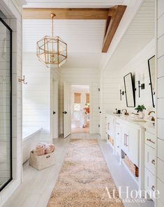 A young family brings their love of down-to-earth style with them as they settle in to a new Northwest Arkansas home Contemporary Interior Design, Interior Design Tips, Design Ideas, Interior Window Shutters, White Shiplap, Cabins And Cottages, Young Family, Diy Home Improvement, White Bathroom