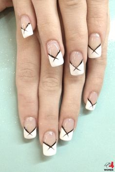 White French Tip Nail Designs Ideas white french tips with black flick nail art ngel White French Tip Nail Designs. Here is White French Tip Nail Designs Ideas for you. White French Tip Nail Designs 43 gel nail designs ideas design tre. French Tip Nail Designs, French Tip Nails, Nail Art Designs, French Tips, Nails Design, French Manicures, French Nail Art, French Manicure With A Twist, White French Nails