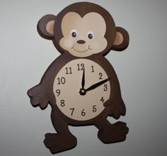 Monkey Wooden WALL CLOCK for Kids Bedroom Baby by ToadAndLily