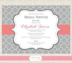 Bridal Shower invitation or Bridal Luncheon Invitation, DIY,  Grey and Coral, bridal shower invite, baby shower