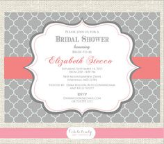 Bridal Shower invitation or Bridal Luncheon Invitation, DIY,  Grey and Coral, bridal shower invite, baby shower