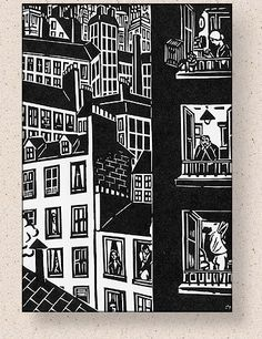 "Frans Masereel illustration from his 1925 book of wood cut prints entitled ""Die Stadt. Linocut Prints, Art Prints, Block Prints, Willy Ronis, City Illustration, Black And White Illustration, Tampons, Wood Engraving, Grafik Design"