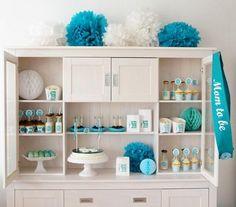 Baby Shower Party Sweet Table in blau, türkis und weiß