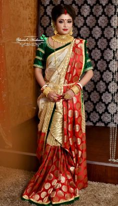 Bengali Saree, Bengali Bride, Bengali Wedding, Hindu Bride, Saree Draping Styles, Saree Styles, Drape Sarees, Indian Bridal Outfits, Indian Bridal Fashion