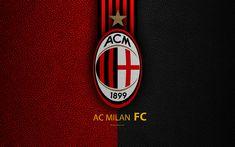 Download wallpapers AC Milan, 4k, Italian football club, Serie A, emblem, Milan FC logo, leather texture, Milan, Italy, Italian Football Championships