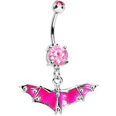Pink Gem Neon Flying Bat Dangle Belly Ring #Piercing #bodycandy #halloween
