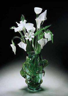 Leaf Vase with White Bouquet  Art Glass Sculpture  Created by David Van Noppen