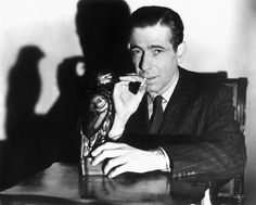 """""""It's the stuff dreams are made of,"""" says Bogart of the Falcon. Excellent, fast-paced film noir with outstanding performances, great dialogue, and concentrated attention to details. Humphrey Bogart, Maltese Falcon Movie, Classic Hollywood, Old Hollywood, Hard Boiled Detective, Detective Movies, Bogie And Bacall, Mary Astor, John Huston"""