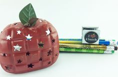 AG Designs Teacher Decor - Red Metal Apple Tealight with Magnet #04-28/16 by AgapeGiftsOnline on Etsy