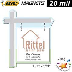 $0.34/each Promotional BIC Magnets: Promotional Real Estate For Sale Sign Refrigerator Magnet Medium Size 20mil Item #MGSSM-RESIGN (MINIMUM ORDER: 500 Magnets).