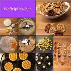 Waffelplätzchen * Waffelkekse ca. 35 Stück 200 g Mehl 90 g Butter 70 g Zucker 1 Ei 1 TL Backpulver 1 TL Vanillezucker 1/2 Zitrone, die Schale davon Fett fürs Waffeleisen Zucker und zimmerwarme Butt…